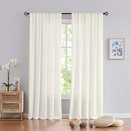 "Fmfunctex Semi-Sheer Curtains for Living-Room Solid Silky Soft Chiffion Window Curtain Panels for Office Kitchen, Ivory 52"" W x 84"" L Rod Pocket 2 pk"
