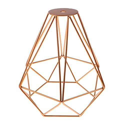 Generic Vintage Metall Diamant Form Anhänger Deckenleuchte Lampe Käfig Lampenschirm Dekor - Golden, 20x20cm