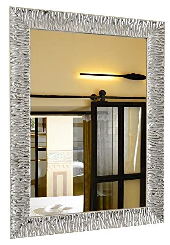 GaviaStore - Julie - Specchio moderno da parete disponibile in 12 formati e colori - grand arred casa art home decor soggiorno modern sala paret camera bagno cucina ingresso (Argento, 70x50 cm)