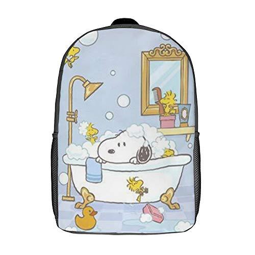 Snoopy Baderucksack Schultasche Reisetasche Business-Tagesrucksack für Männer Frauen Teenager Schule College 17 Zoll
