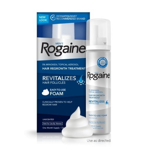 Rogaine for Men Hair Regrowth Treatment, 5% Minoxidil Topical Aerosol, Easy-to-use Foam, 2.11 Oz Unscented 1 Month Supply