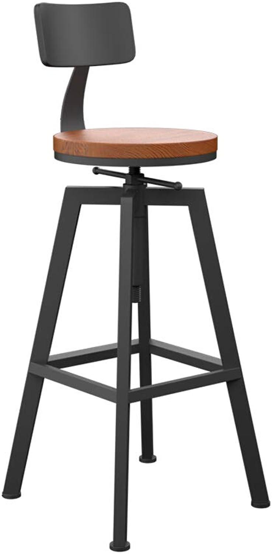 FEI Teng Bar Stool, bar Simple bar Stool Wrought Iron high Stool Solid Wood bar Stool Round redating Lift Modern bar Stool Coffee Chair (Size   D)