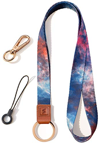 SENLLY Umhängeband Schlüsselband Neck Lanyard strip mit und echtem Leder, für Schlüssel, ID Badge Card Holder, Ausweishülle, Mobile Handys Telefon