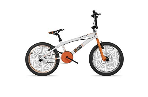 Tecnobike BMX Zero – BMX Freestyle – Pro Design 20 pulgadas – Exclusive Colors blanco/naranja