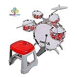 COLOR TREE Kids Jazz Drum Set Kit – 5 Drums, Cymbal, Kick Pedal, 2 Drumsticks, Stool – Little Rockstar Kit to Stimulating Children's Creativity, - Ideal Gift Toy for Kids, Boys & Girls (Red-Jazz)