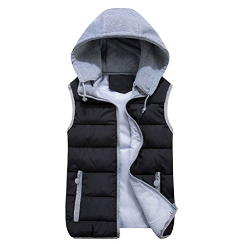 Hooded Down Vest -Creativity8 Women's Fashion Quilted Padding Puffer Vest Plus Size Outwear With Removable Hood Casual Jacket for Winter. (3XL, black)