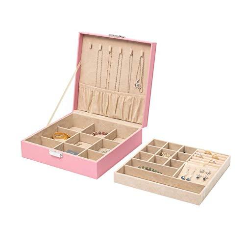 LXQLLJJD Caja de Almacenamiento de joyería Cuadrada, 2 Capas con Ornamentos de Cuero de Bloqueo Organizador para Pendientes, Anillos, Collares, Pulseras (Rosa)