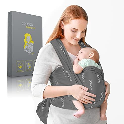 COCOON® Baby Tragetuch – Elastisches Tragesystem für Früh- & Neugeborene - bis zu 15kg – Babytragetuch inklusive Bindeanleitung – Weiche Baumwolle & Elasthan