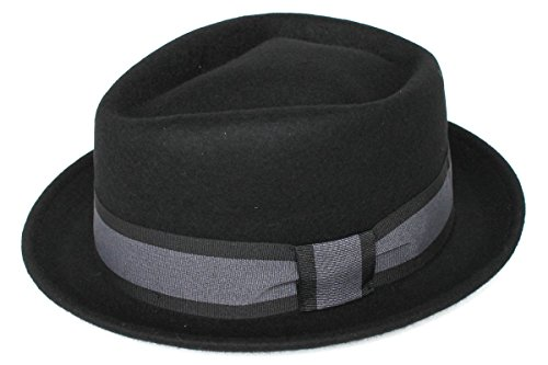 Tedd Haze - Chapeau porkpie - Homme Noir Noir