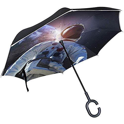 Double Layer Inverted Umbrella Der Astronauts Reverse Folding Umbrella Rain mit C-förmigem Griff