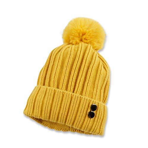 Gorros de Punto para Mujer Invierno al Aire Libre más Terciopelo Letra Gruesa Doble botón Sombrero de Lana señoras protección auditiva cálida Bola de Pelo Sombrero de Punto-G