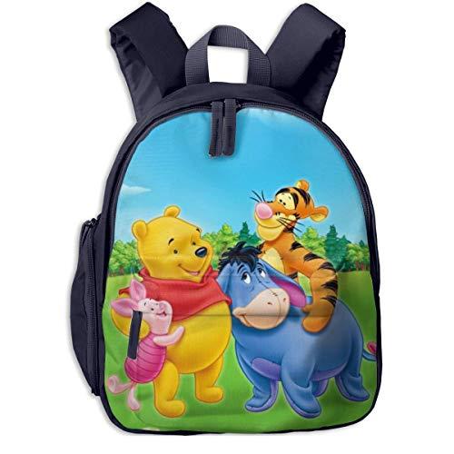 Hdadwy Winnie The Pooh Kinderrucksäcke Schultaschen für Jungen Mädchen Vorschultasche Niedlicher Cartoon-Rucksack Größe für Kindergarten, Vorschule