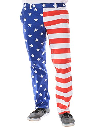 Tipsy Elves Men's Trousers - American Flag Pants Size L