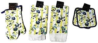 Home Concepts Yellow and Blue Pansy Flowers 5 Piece Linen Bundle Package Oven Mitt (1) Pot Holders (2) Kitchen Towels (2)