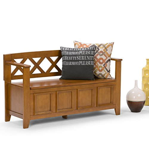 Product Image 2: SIMPLIHOME Amherst SOLID WOOD 48 inch Wide Entryway Storage Bench with Safety Hinge, Multifunctional Transitional inLight Avalon Brown