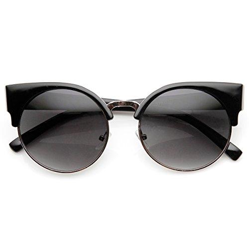 Round Circle Half Frame Semi-Rimless Cateye Sunglasses (Black-Silver-Lavender)