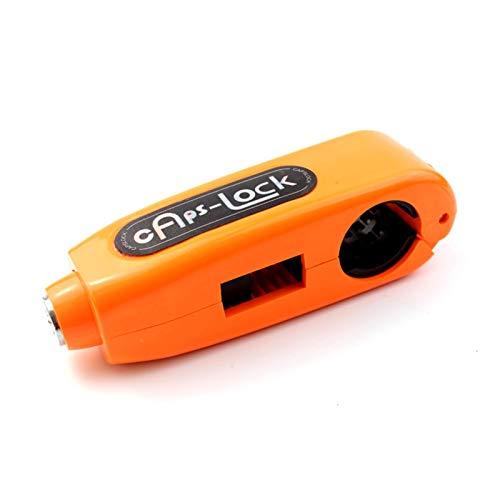 Candado Moto,Moto Del Manillar La Bloqueo Manillar de la motocicleta Grip Caps Lock robo Vespa del embrague del freno de seguridad Seguridad Protección motor bloquea con 2 llaves (Color : Orange)