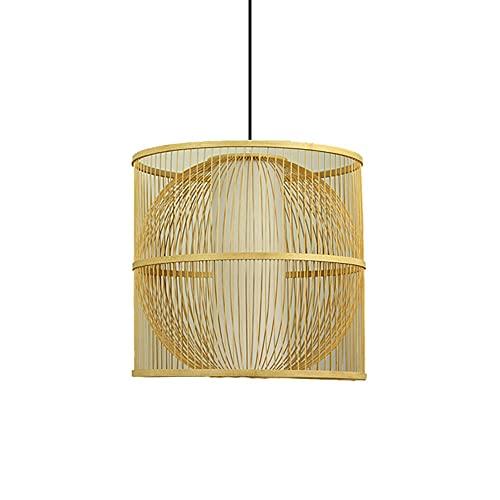 Xungzl Iluminación colgante de bambú de forma cilíndrica creativa, araña de ratán de doble capa con pantalla de pergamino de imitación, lámpara colgante de ajuste de cadena colgante, dispositivo de il