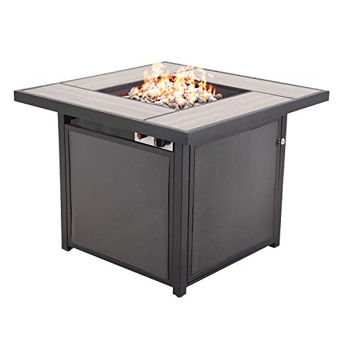 Grand patio Outdoor Propane Fire Pit Table with Cover/Lid for Patio, 32 inch 40,000 BTU, Textilene/Square