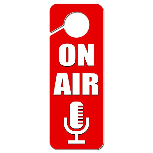 Graphics and More On Air Microphone Recording Radio Podcast Plastic Door Knob Hanger Sign