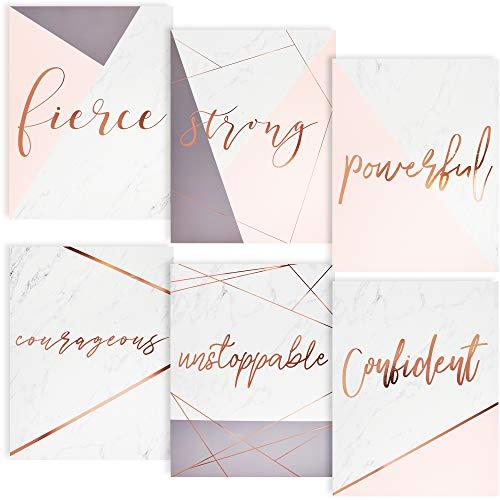 Paper Junkie Pocket Folders with Rose Gold Foil Motivational Sayings (12 Pack), 6 Designs