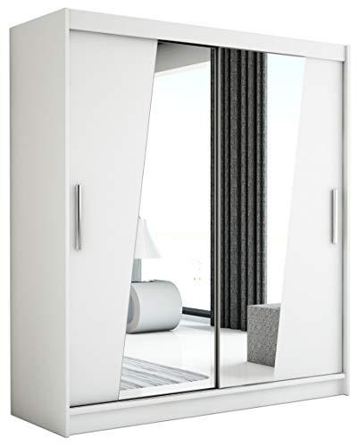 Kryspol Schwebetürenschrank Rhomb 150 cm mit Spiegel Kleiderschrank mit Kleiderstange und Einlegeboden Schlafzimmer- Wohnzimmerschrank Schiebetüren Modern Design (Weiß)
