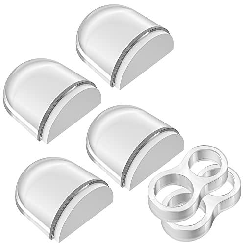 Tope de Puerta para Suelo, Aywne Topes para Puertas Transparente Autoadhesivo Protección de Pared y Muebles, 4+2pcs