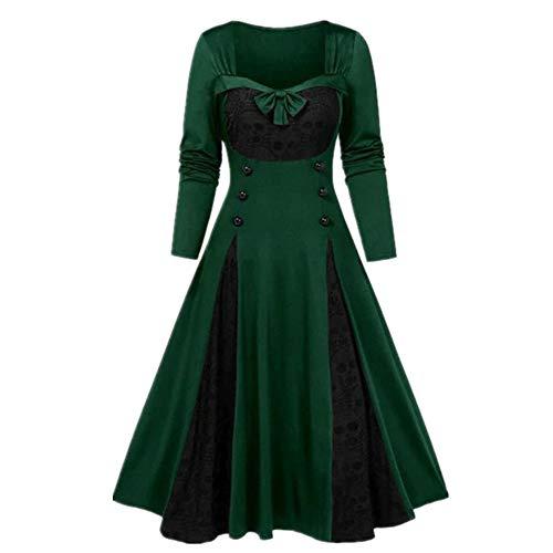 N\P Vestido de fiesta vintage de encaje patchwork de cuello cuadrado vestido de bola de color contraste retro fiesta de noche vestidos casuales