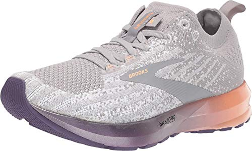 Brooks Womens Levitate 3 Running Shoe - White/Purple/Cantaloupe - B - 8.5