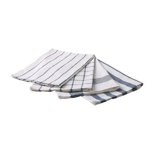 IKEA ELLY 4-delige set theedoeken wit blauw droogdoek handdoek style