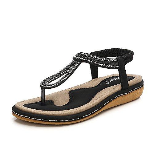 Meeshine Women T-Strap Rhinestone Beaded Gladiator Flat Sandals Summer Beach Sandal Black-02 US 7
