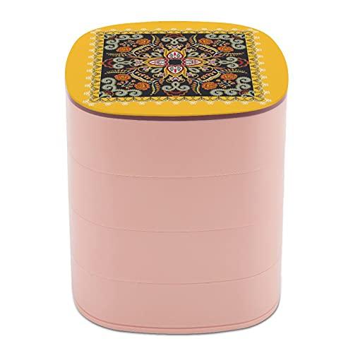 Rotar la caja de joyería Diseño retro arte fantasía elemento diseño caja de joyería pequeña con espejo, diseño de múltiples capas plato de joyería para mujeres niña