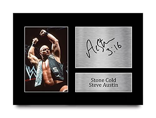 HWC Trading Stone Cold Steve Austin Gift Handtekeningen A4 Printed Vechten Wwe Wwf Gifts Print Picture Beeldscherm