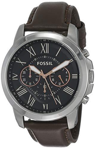 Fossil Herren Chronograph Quarz Uhr mit Leder Armband FS4813
