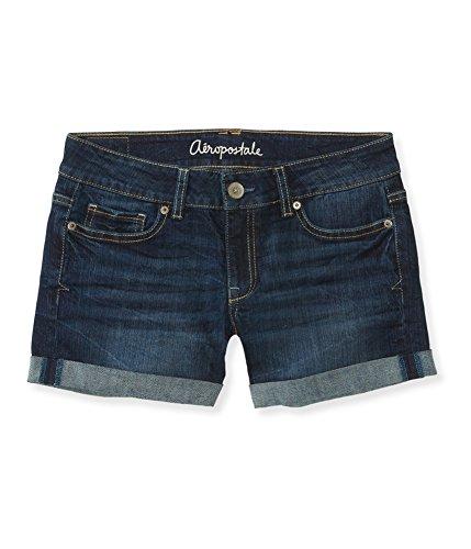 Aeropostale Womens Cuffed Boyfriend Casual Bermuda Shorts, Blue, 000 Size