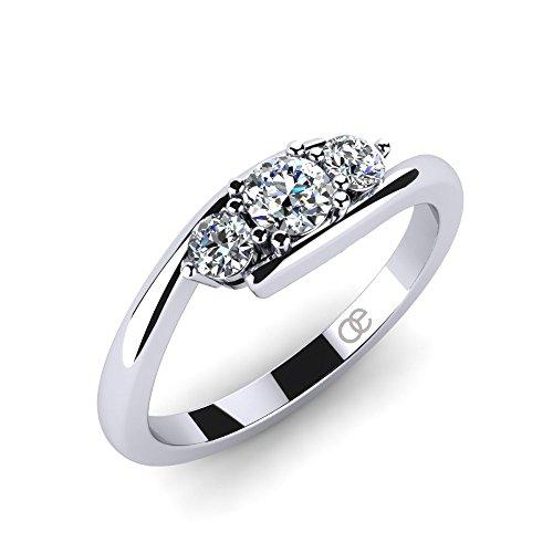 Ring Lupine + 3 & 5 Stein Verlobungsringe Trauringe Eheringe + Trilogy 925 Silberringe für Damen mit Zirkonia + SWAROVSKI Zirkonia Ring + bombierter Verlobungsring + LUXUSETUI (54 (17.2))