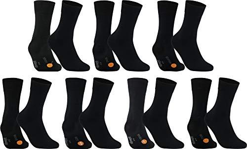 gigando Socken Pack für Herren mit 7 Wochentage Motiv, 7 Qualitäts Baumwollsocken ohne Naht, lustige, lange organizer Strümpfe für Anzug u. Urlaub, schwarze verstärkte Unisex Socken, 43-46