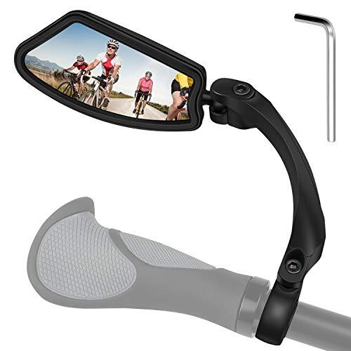 DIAOCARE Fahrradspiegel,Universal Verstellbar 360°Fahrradrückspiegel,HD/ Schlagfest/Faltbar, Lenker Fahrradspiegel für 21-23 mm Rennrad Mountainbike E-Bike (Left)
