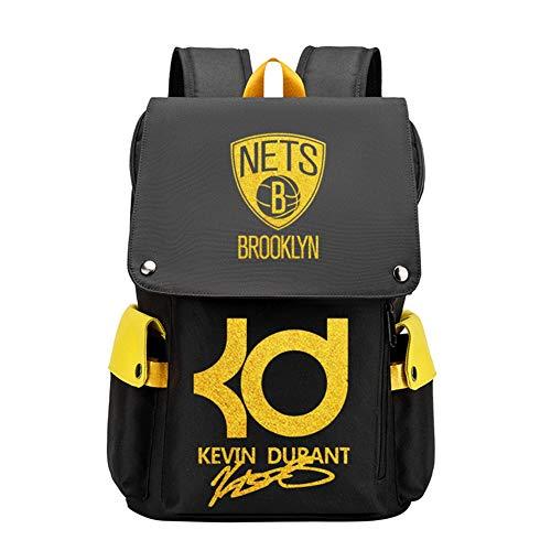 Haoshangzh55 Mochila Deportiva De Baloncesto Brooklyn Nets # 35 Kevin Durant Borde Amarillo Bronceado Paquete De Entrenamiento De Fans De Estrella Ocio Todo Partido Mochila De Computadora