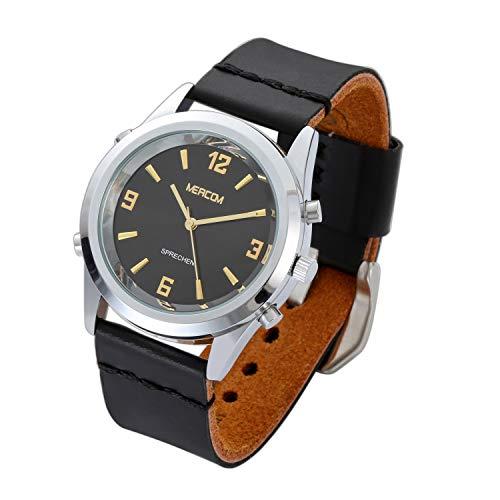 MEACOM Sprechende Armbanduhr, Zeitansage mit Edelstahl Zifferblatt Lederband Deutsch Uhr Blindeuhr für Alter/Blinde/Optisch Beeinträchtigte