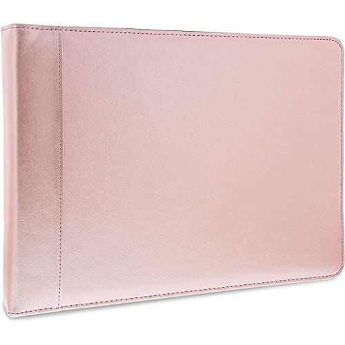 7 Ring Business Check Book Binder with Zipper (Rose Gold PU Leather, 15 x 10.7 x 2 in)
