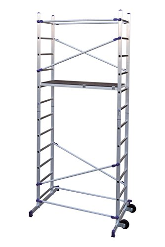 FACAL PINNA CLIC PN/CLI, Trabattello in alluminio, altezza di lavoro 436 cm, Altezza della scala 365 cm, colore Alluminio, blu