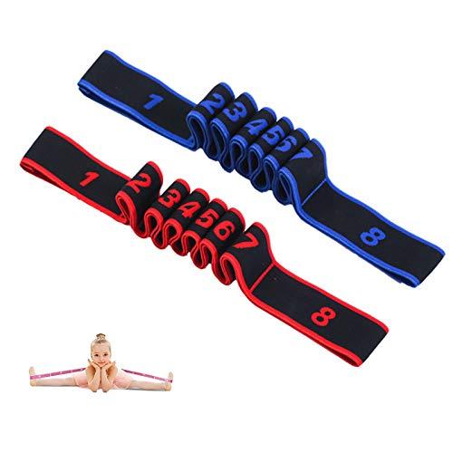 2 Stück Yoga Stretching Band Gymnastikband mit 8 Schleifen Yoga Stretch Gurt Resistance Bands Fitnessbander Yogagurt Stretchband Hochelastischer Widerstandsbänder für Asanas Dehnen Stretchen