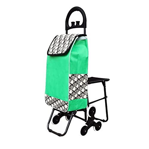 LICHUAN Carrito de la compra con asiento plegable carrito de comestibles ligero para viajar, camping, playa, juegos, picnic, carrito de la compra (color verde, tamaño: con asiento)