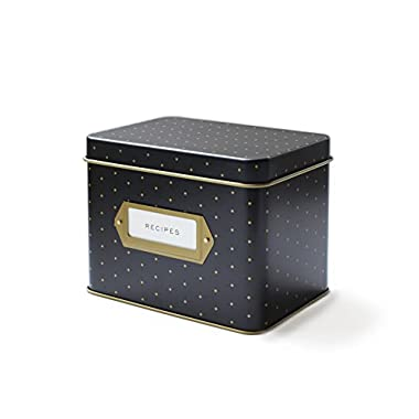 Polka Dot Recipe File Box With 12 Dividers and 24 Recipe Cards