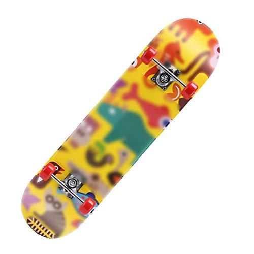 ZHKGANG Monopatin Skateboard Patineta Dos Pies Descalzos Doble Patada Completa Monopatín Crucero para Adolescentes Principiantes Niños Patineta Colorida Patineta Profesional,I