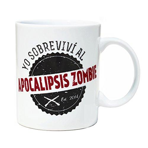 VOODOO ISLAND Tasse mug Petit-déjeuner de Porcelaine Blanche 30 cl. Modèle Apocalypse Zombie Survivant