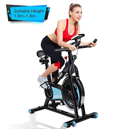 alvorog Indoor Fitness Fahrrad Heimtrainer Cycle Indoorcycling Bike mit LCD Monitor, Fahrradtrainer, Cardio-Bike mit flüsterleisem Riemenantrieb, bis 150 kg