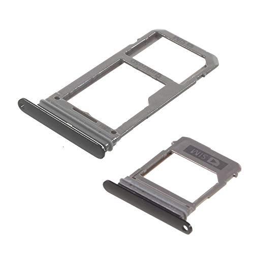 jbTec Dual SIM-Tray/SD-Card Karten-Halter passend für Samsung Galaxy A5 / A7 2017 (Dual SIM) - Slot Schlitten Kartenhalter Karte Rahmen Holder, Farbe:Schwarz