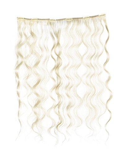 American Dream - A4/QFC12/18/60/613 - 100 % Cheveux Naturels - Douce Ondultation - Pièce Unique Extensions à Clipper - Couleur 60/613 - Blond Pur / Blond Crème - 46 cm